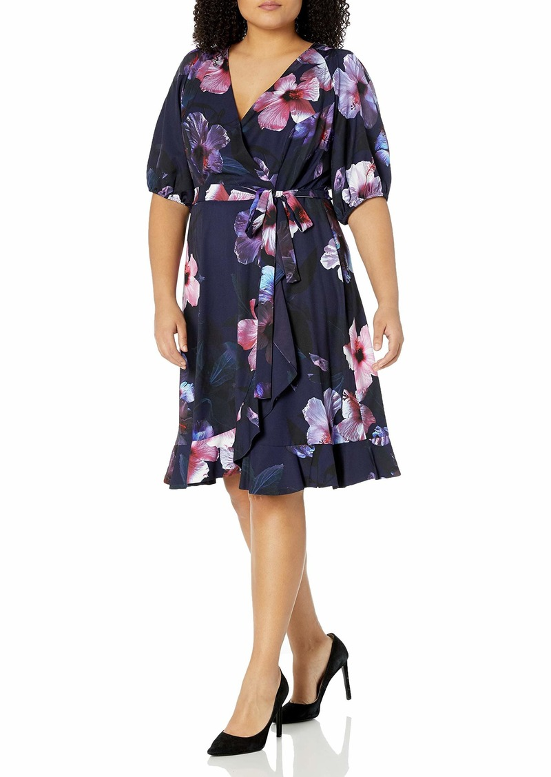 Adrianna Papell Women's Floral Wrap Dress with Ruffle Hem