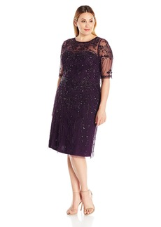 Adrianna Papell Women's Plus Size Fully Beaded Cocktail Dress