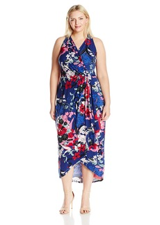 Adrianna Papell Women's Plus Size Halter Neck High/Low Wrap Dress  2X