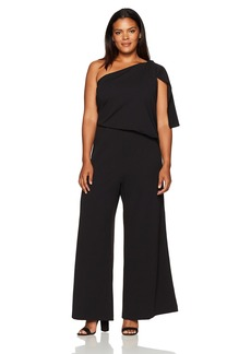 Adrianna Papell Women's Plus Size Knit Crepe One-Shoulder Jumpsuit  20W