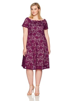 Adrianna Papell Women's Plus Size Lace Midi Fit and Flare  22W