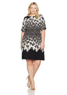 Adrianna Papell Women's Plus Size Lace Print Fit and Flare  14W