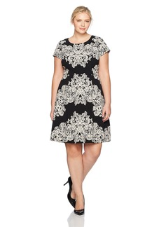 Adrianna Papell Women's Plus Size Lace Printed Fit and Flare  16W