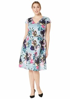 Adrianna Papell Women's Plus Size Mystic Floral FIT and Flare