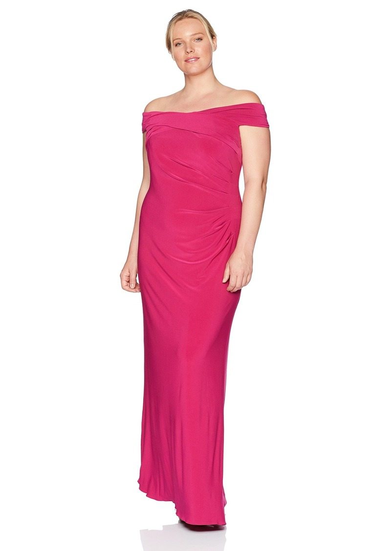 Adrianna Papell Women's Plus Size Off Shoulder Draped Matte Jersey Long Mermaid Gown