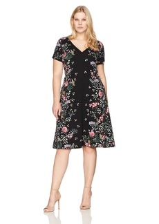 Adrianna Papell Women's Plus Size Printed Crepe Scuba Fit Flare
