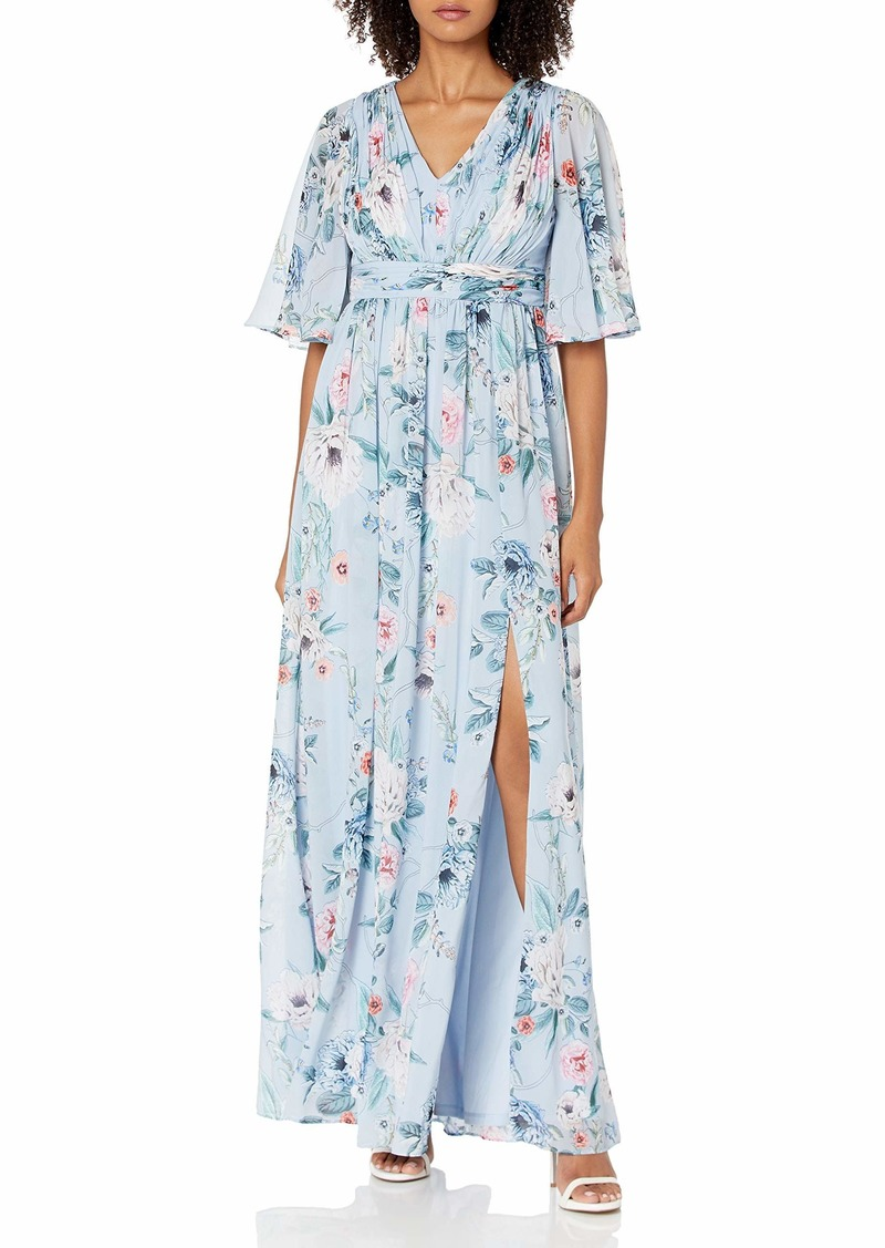 Adrianna Papell Women's PRINTED FLORAL CHIFFON GOWN GLACIER MULTI