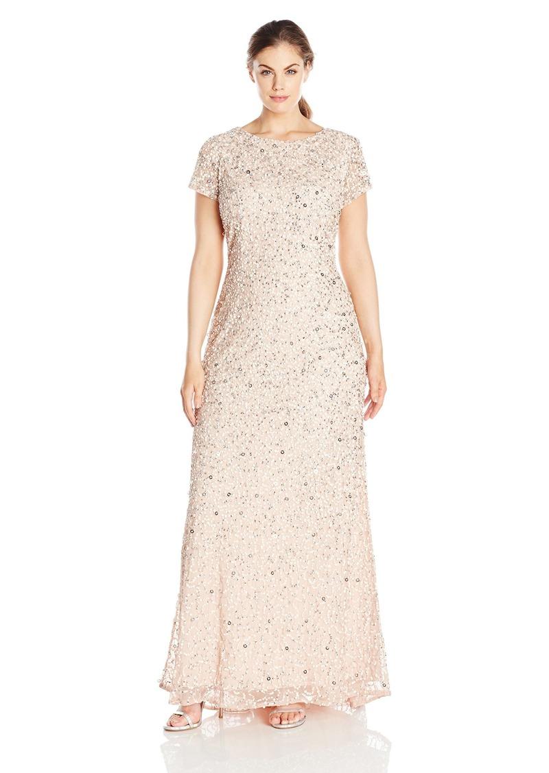 Women\'s Plus-Size Scoop-Back Long Beaded Gown