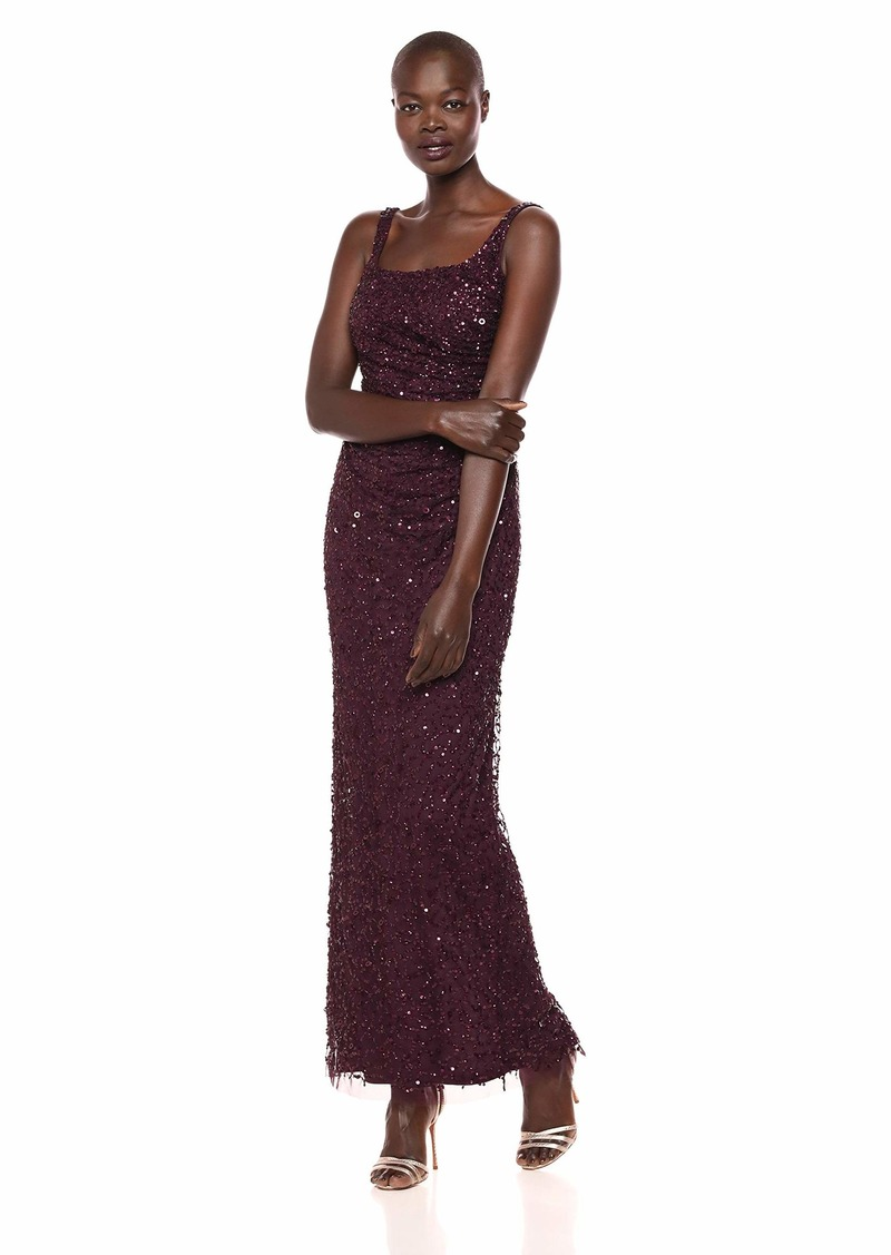 Adrianna Papell Women's Plus Size Sleeveless Crunchy Bead Gown with Square Neckline