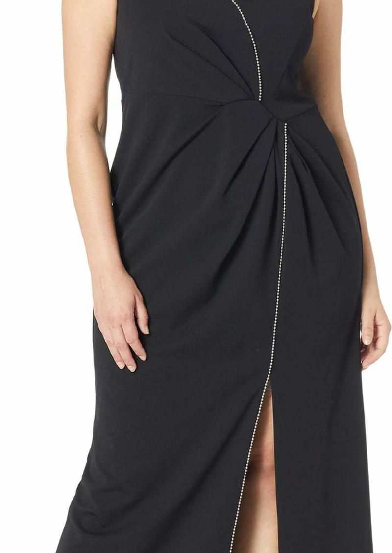 Adrianna Papell Women's Plus Size Sleeveless Draped Halter Knit Crepe Long Dress