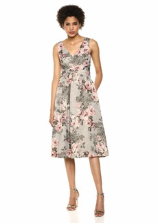 Adrianna Papell Women's Plus Size Sleeveless Floral Dress with Pleated Waist