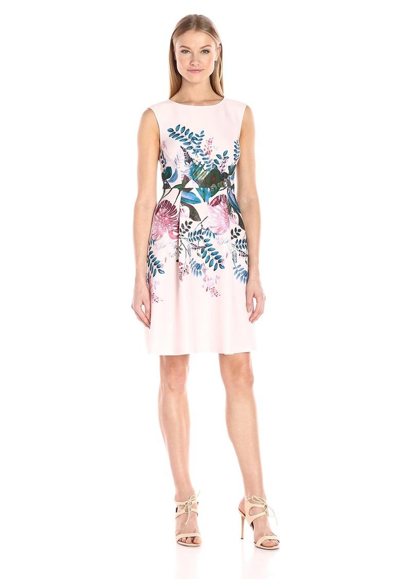 Adrianna Papell Women's Plus Size Sleeveless Ottoman Stripe Dress