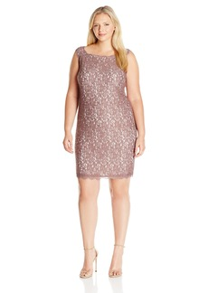 Adrianna Papell Women's Plus Size Sleeveless Short Lace Cocktail Dress