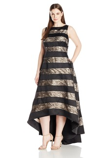 Adrianna Papell Women's Plus Size Sleevless Striped Lace and Mikado Hi Low Gown (Womans)