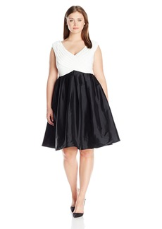 Adrianna Papell Women's Plus Size Tafetta Fit and Flare Black/Ivory 14W