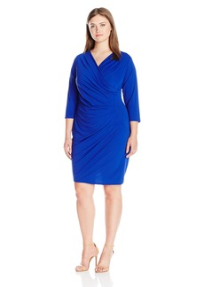 Adrianna Papell Women's Plus Size V Neck 3/4sleeve Wrap Dress  2X