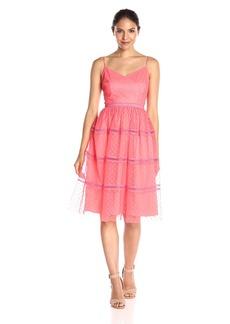 Adrianna Papell Women's Point D'Esprit Tea-Length Dress