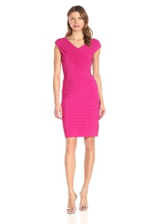 Adrianna Papell Women's Portrait Neck Band Matte Jersey Dress