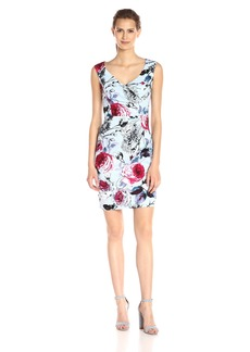 Adrianna Papell Women's Portrait Neckline Dress with Side Drape