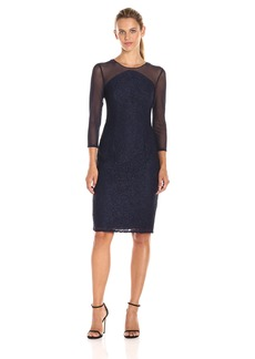 Adrianna Papell Women's Power Mesh and Lace Shift Cocktail Dress