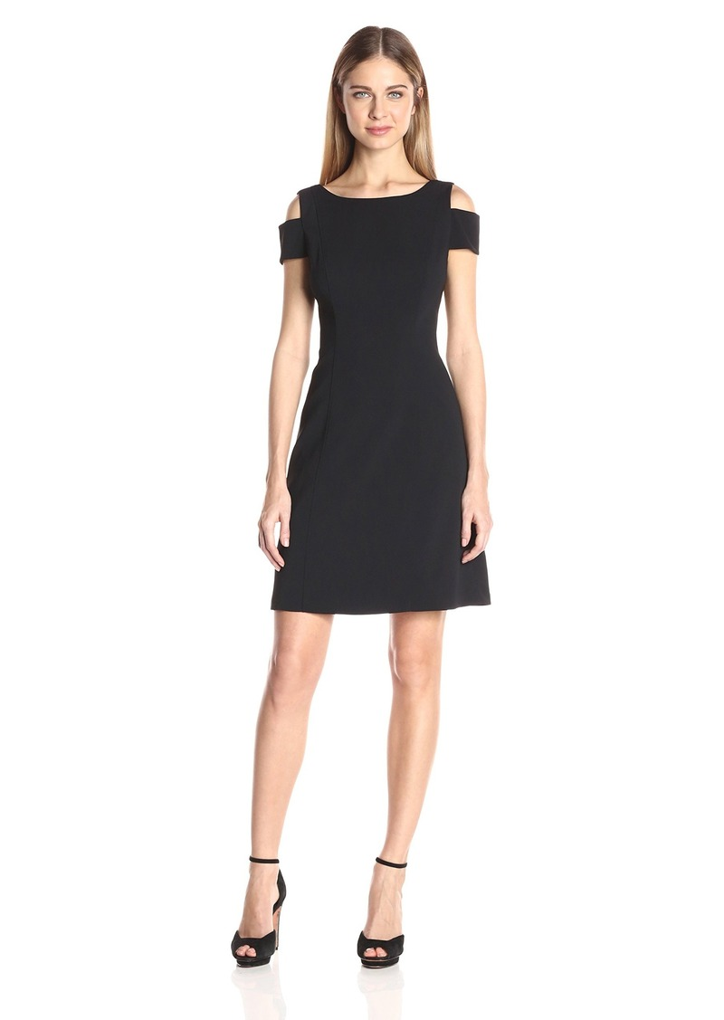 Adrianna Papell Women's Power Stretch Cold Shoulddr a Line Dress