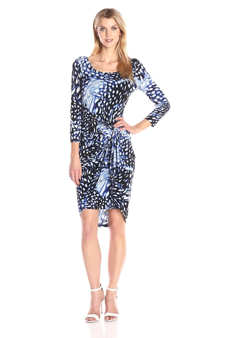 Adrianna Papell Women's Print Scoop Neck Long Sleeve Knot Dress