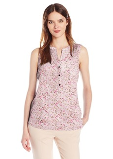 Adrianna Papell Women's Print Sleeveless Equipment Shirt  L