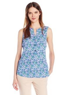 Adrianna Papell Women's Print Sleeveless Equipment Shirt  M