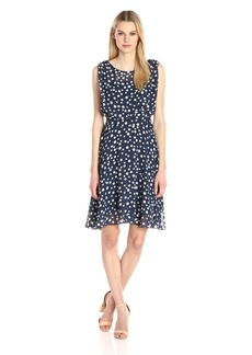 Adrianna Papell Women's Printed Chiffon Blouson Dress