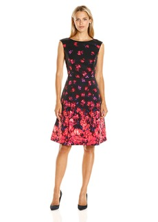 Adrianna Papell Women's Printed Faille Fit and Flare