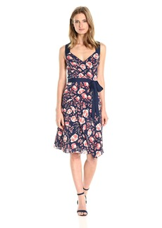 Adrianna Papell Women's Printed Fit and Flare Dress
