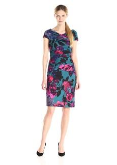 Adrianna Papell Women's Printed Gathered Ponte Dress