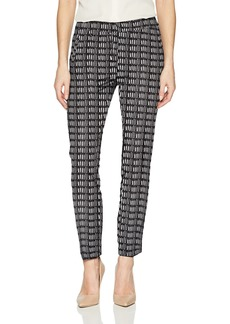 Adrianna Papell Women's Printed Kate Fit Bi Stretch Pant Black/Ivory