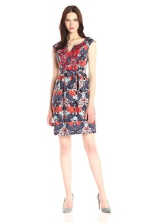 Adrianna Papell Women's Printed Linenette Fit and Flare
