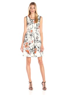 Adrianna Papell Women's Printed Luxe Sleeveless Pleated Flare Dress