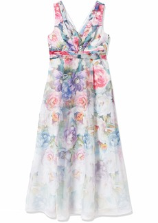 Adrianna Papell Women's Printed Organza Ball Gown IVORY MULTI