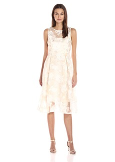 Adrianna Papell Women's Printed Organza Fit and Flare Midi