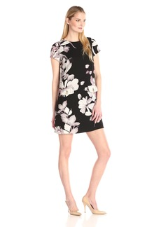 Adrianna Papell Women's Printed Pebble Crepe A-Line Dress
