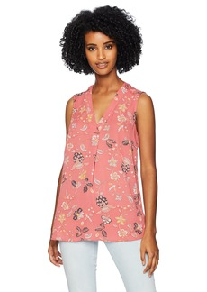 Adrianna Papell Women's Printed Pleat Front Sleeveless Blouse  Extra Large