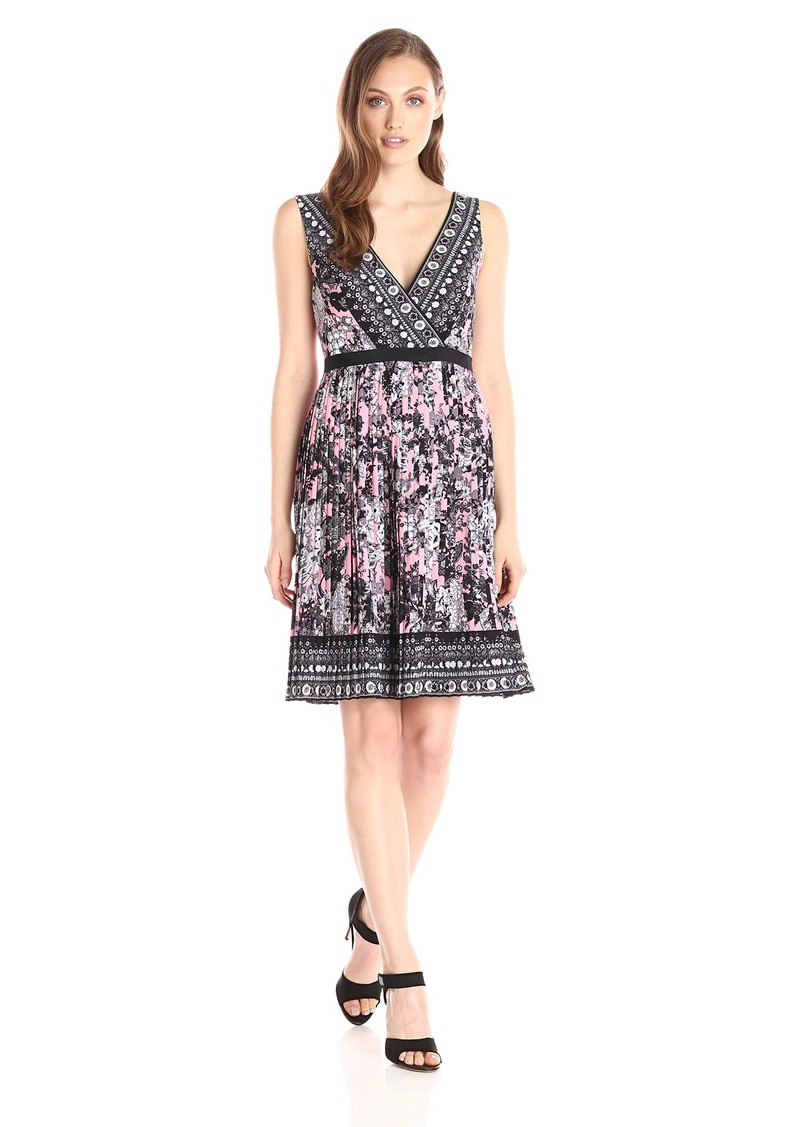 Adrianna Papell Women's Printed Pleated Fit and Flare Dress