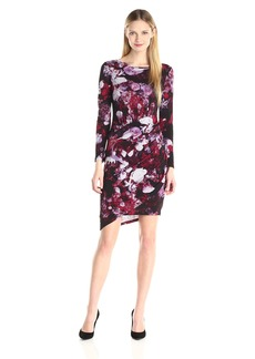 Adrianna Papell Women's Printed Scoop Neck Rusched Dress  Medium