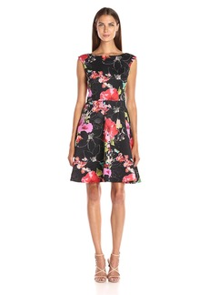 Adrianna Papell Women's Printed Scuba Fit and Flare