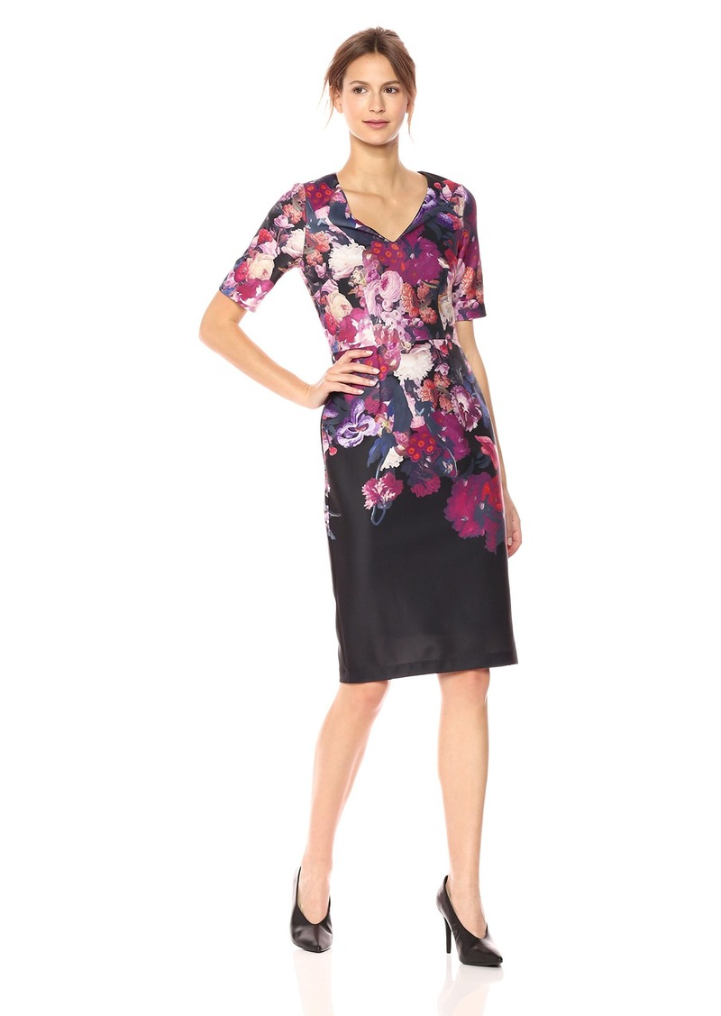 Adrianna Papell Women's Printed Scuba Sheath Dress
