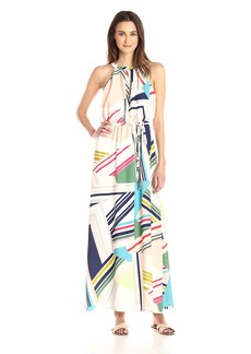 Adrianna Papell Women's Printed Stripped Maze Georgette Halter Maxi Dress