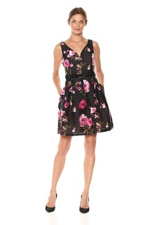 Adrianna Papell Women's Printed Tafetta Fit and Flare Dress