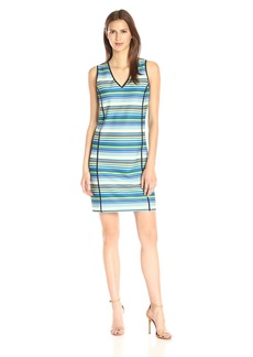 Adrianna Papell Women's Prnt V NK Slvless Shift Dress  Medium