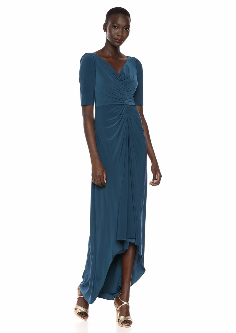Adrianna Papell Women's Puff 3/ Sleeve Hi Low Gown