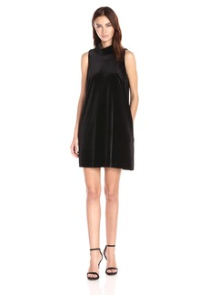 Adrianna Papell Women's Roll Neck Velvet Swing Dress