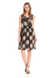 Adrianna Papell Women's Rose Burnout Fit and Flare
