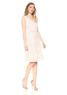 Adrianna Papell Women's Rose Lattice Lace Fit and Flare
